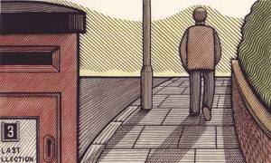 Illustration of man walking into distance along pavement